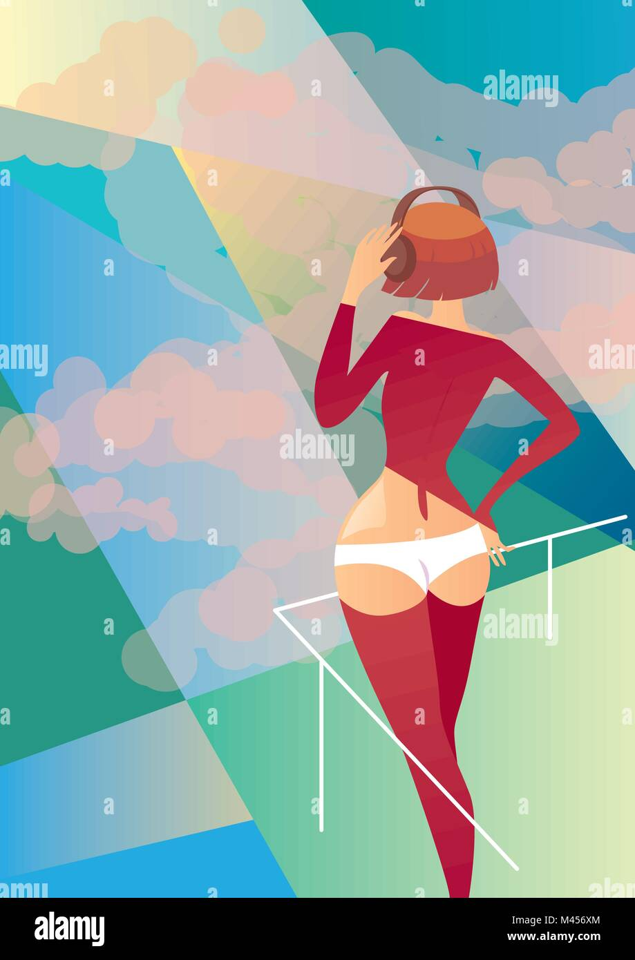 Music in the sunlight. Creative conceptual vector - woman standing in the sunlight. - Stock Vector