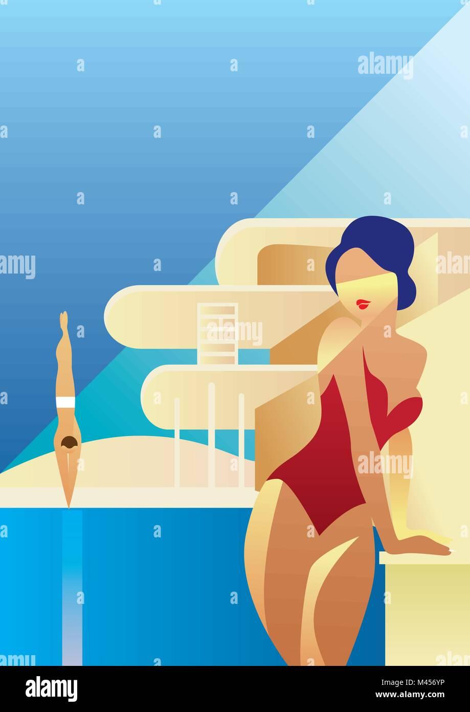 Creative conceptual vector. Woman standing in the sunlight. - Stock Vector