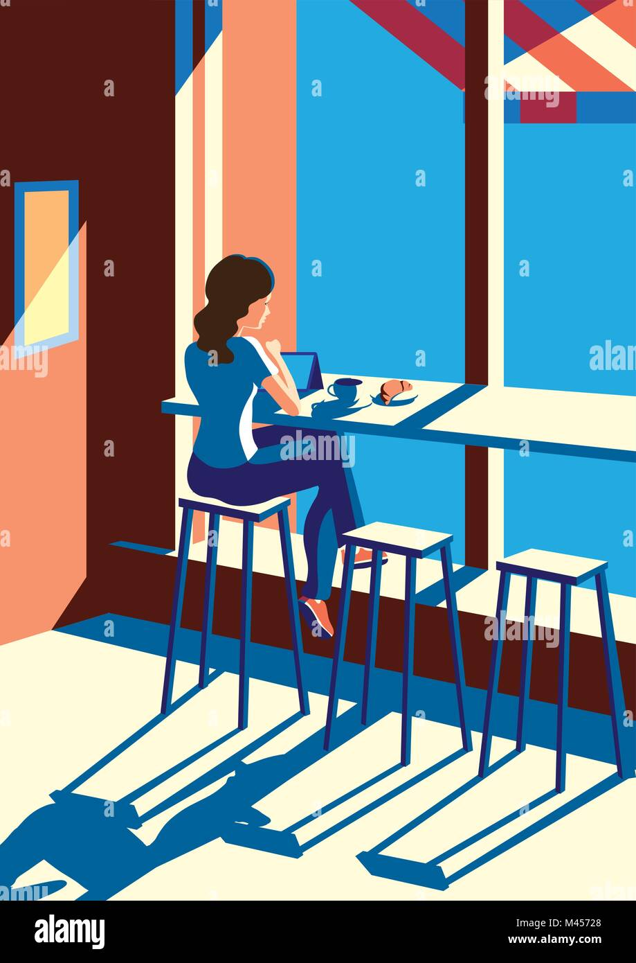 Creative conceptual vector. Woman sitting in the cafe with a cup of coffee. - Stock Vector