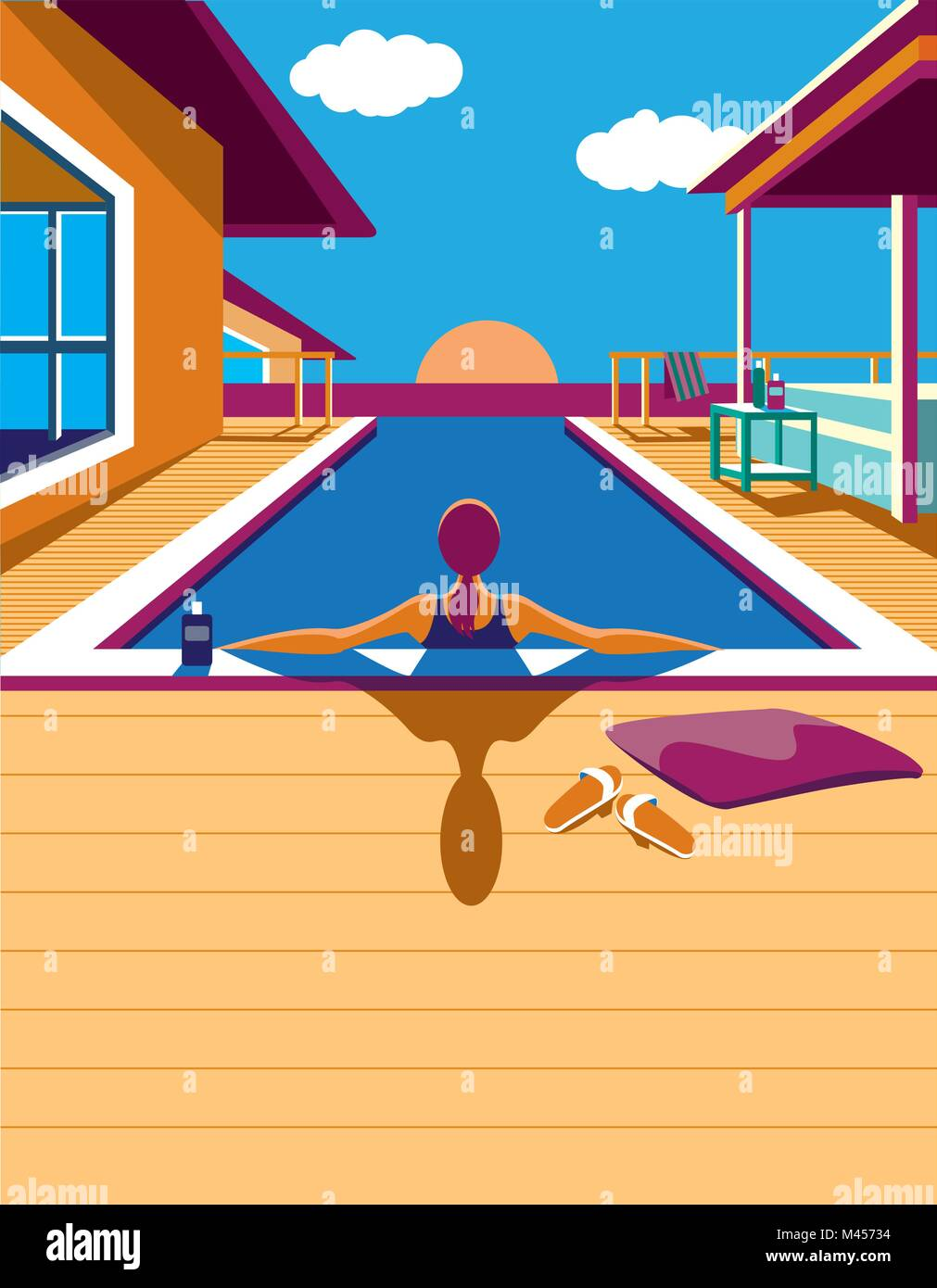 Creative conceptual vector. Woman in the pool in the sunlight. - Stock Vector