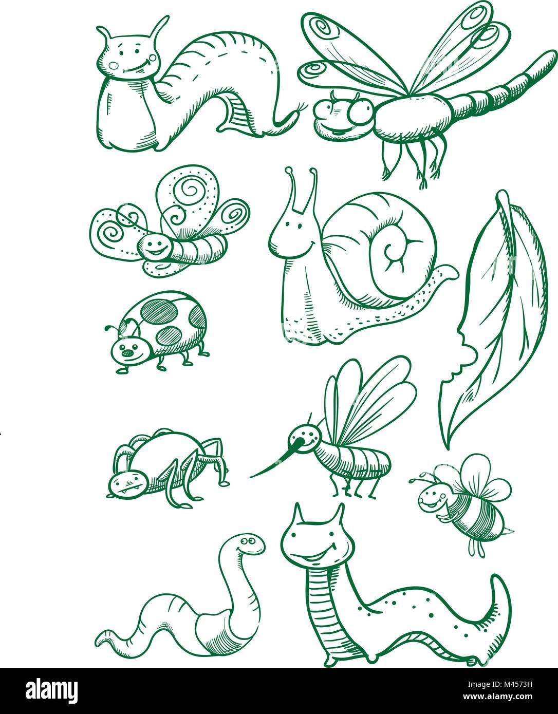 Creative conceptual vector. Drawn insects set. - Stock Vector