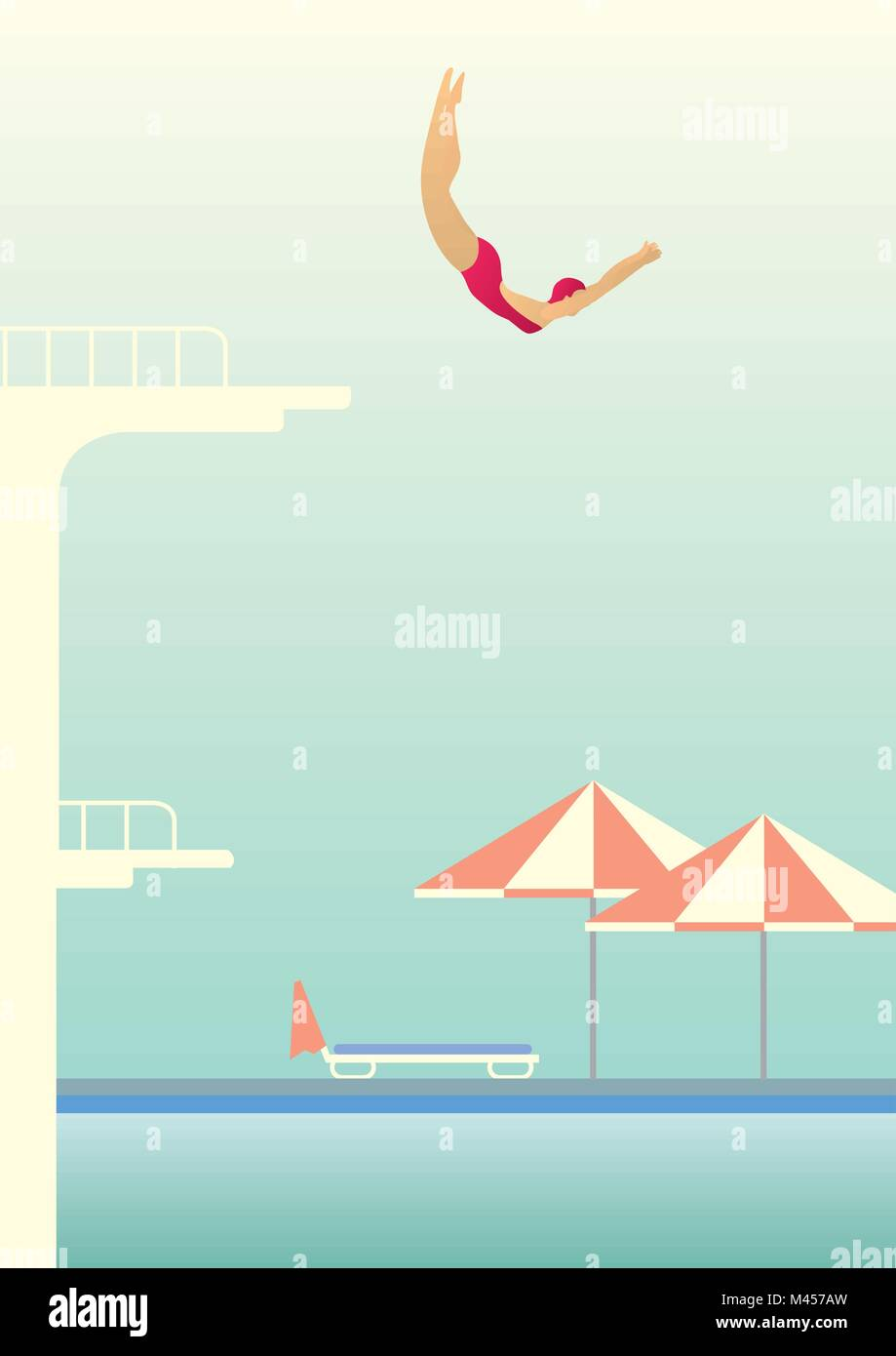 Creative conceptual vector. Woman jumping in the pool. - Stock Vector