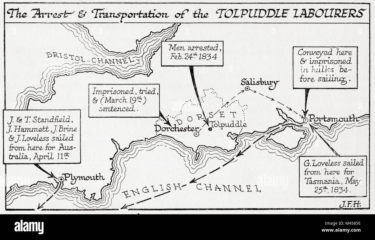 Map showing the arrest and transportation to Australia and Tasmania of the Tolpuddle Labourers, 1834.   The Tolpuddle - Stock Image