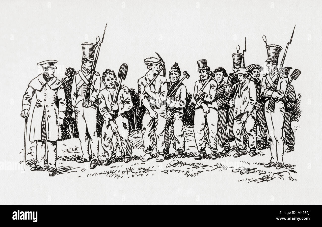 A Hobart chain-gang, a group of prisoners chained together to perform menial or physically challenging work as a - Stock Image