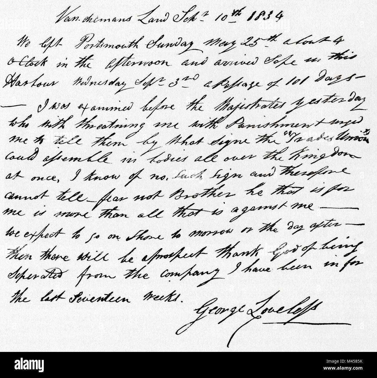 A letter received by James Loveless from his brother George Loveless dated September 10, 1834.  George Loveless, - Stock Image