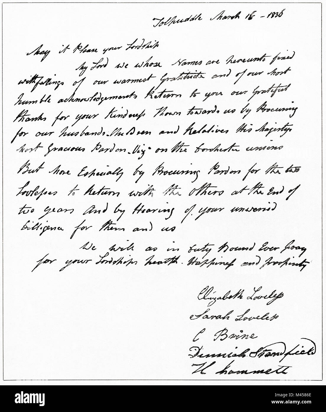 Facsimile of a letter from the wives of the Tolpuddle Martyrs to Lord John Russell thanking him for his part in - Stock Image