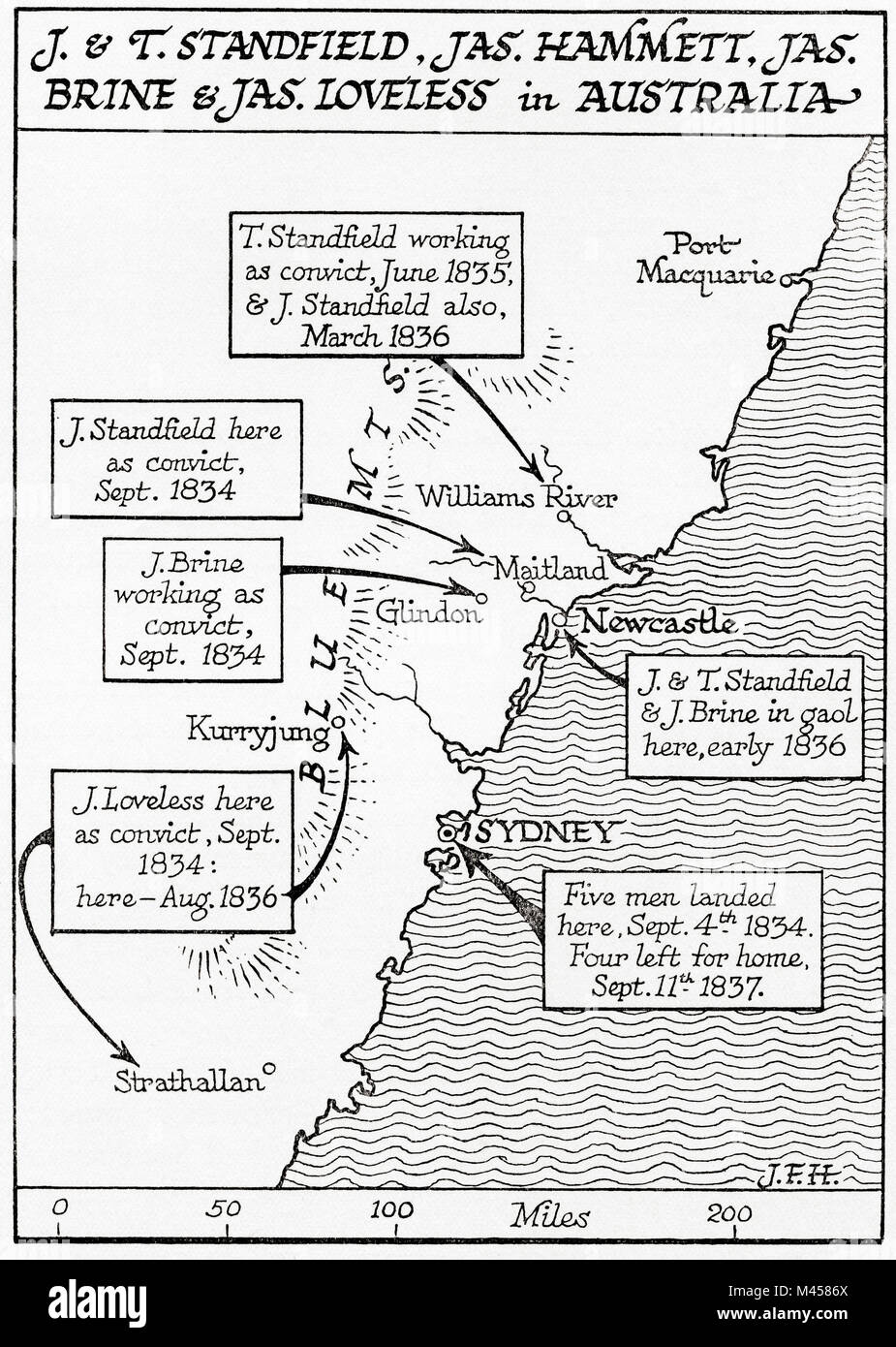 Map showing the placings in Australia of The Tolpuddle Martyrs, a group of 19th-century Dorset agricultural labourers - Stock Image