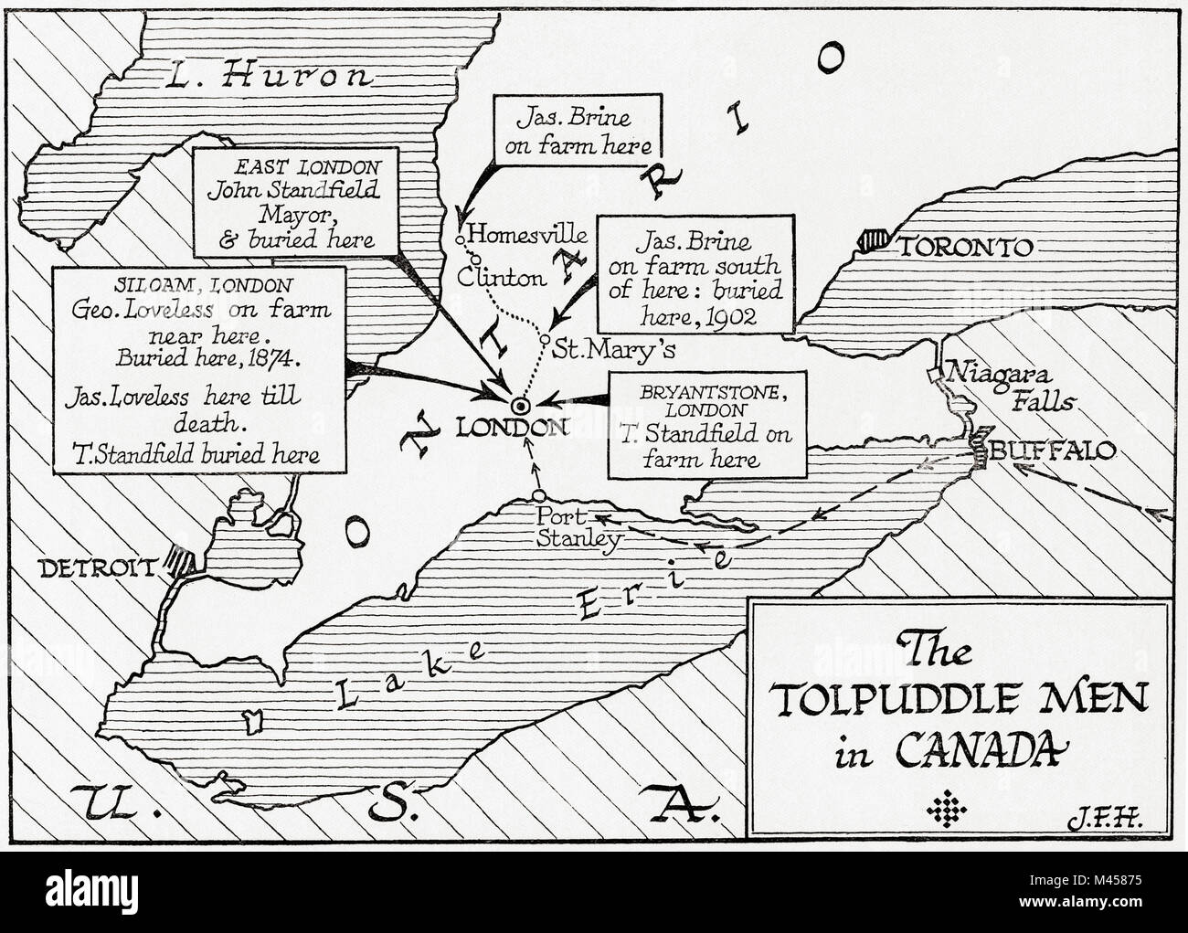 Map showing the placings in Canada of The Tolpuddle Martyrs, a group of 19th-century Dorset agricultural labourers - Stock Image