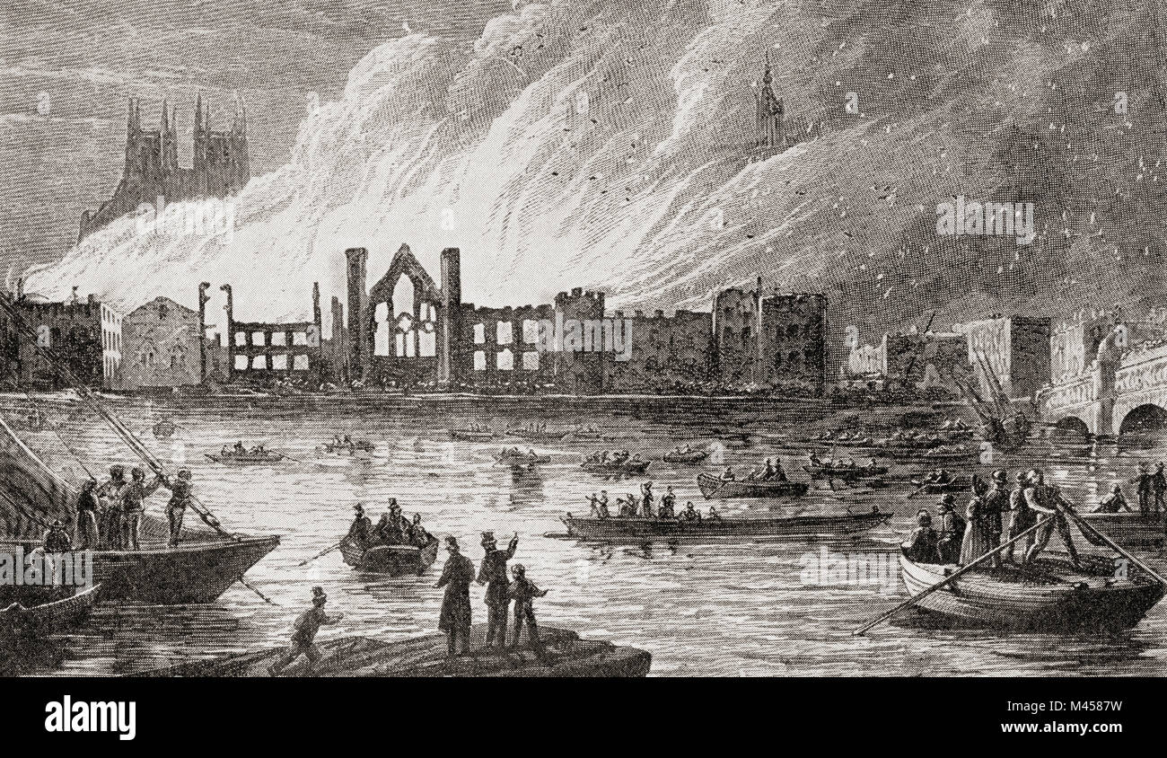 The burning of The Houses of Parliament, London, England, 1834.  From The Martyrs of Tolpuddle, published 1934. - Stock Image
