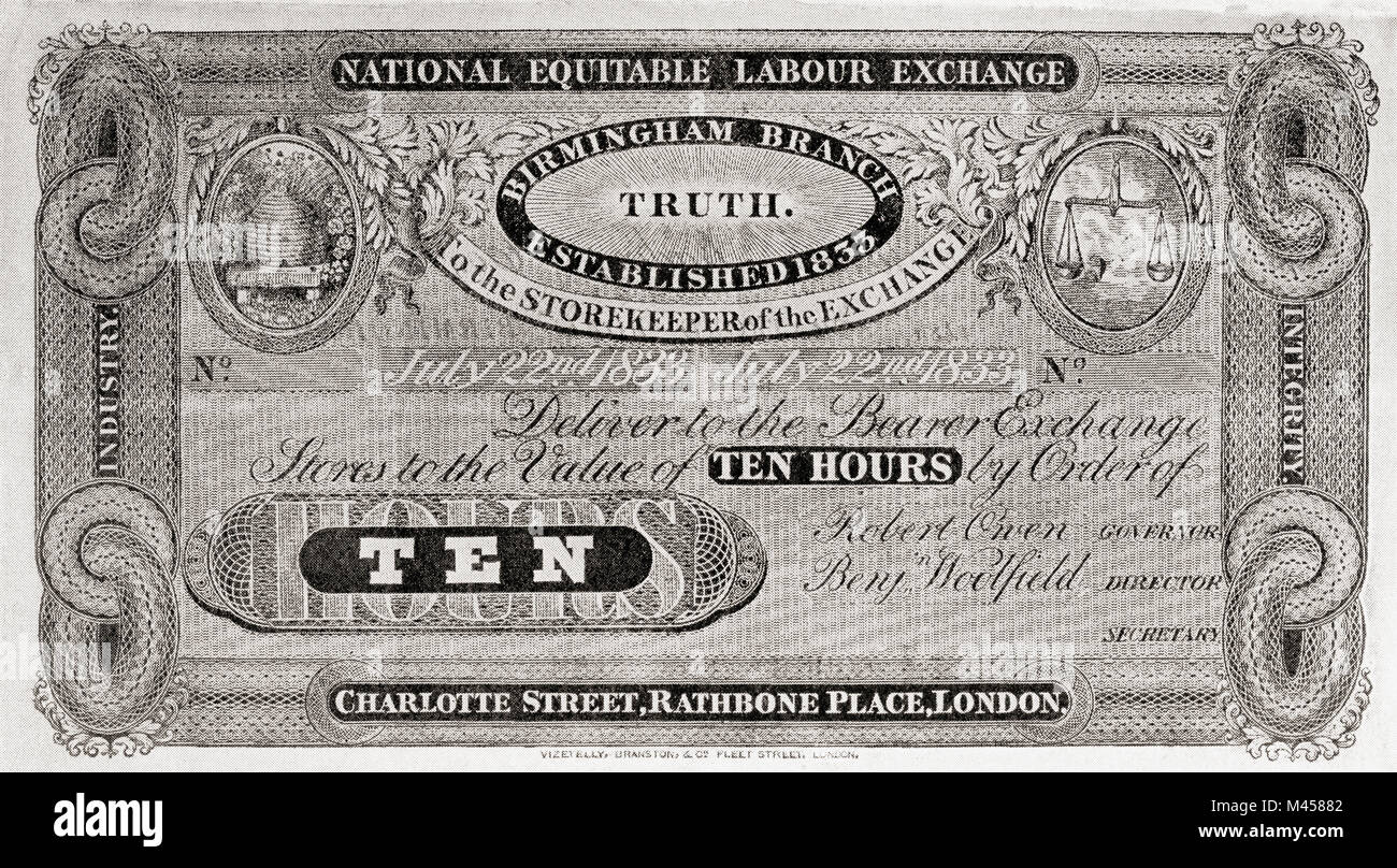Facsimilie of one of Robert Owen's Labour Notes. Robert Owen,1771 – 1858.  Welsh textile manufacturer, philanthropic - Stock Image