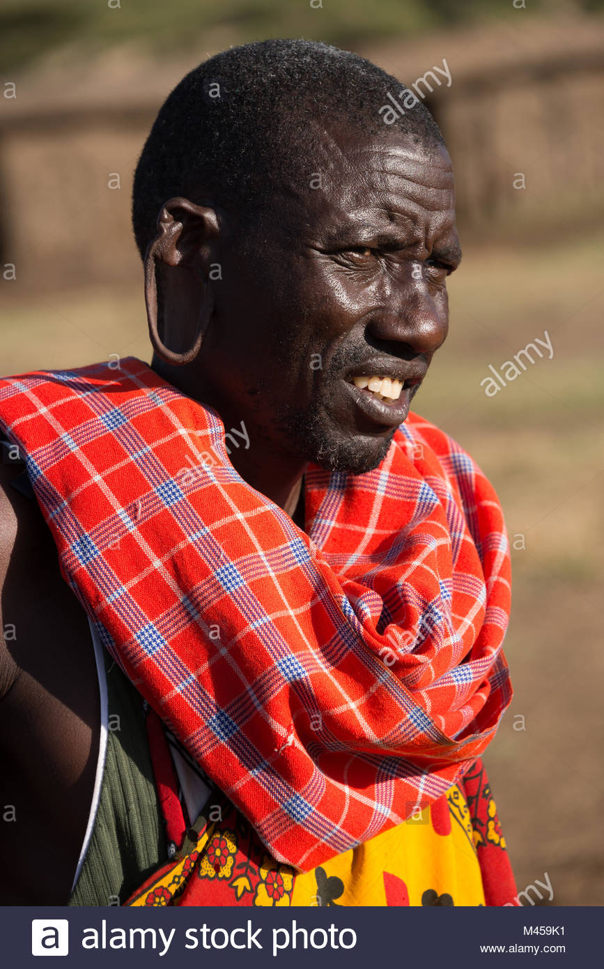 Masai tribesman with large hole in earlobe - Stock Image