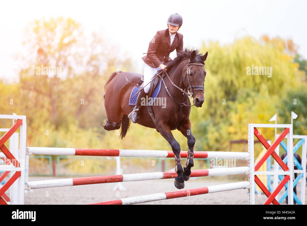 Young rider girl on bay horse jumping over barrier on equestrian sport competition. Horseback girl on show jumping - Stock Image
