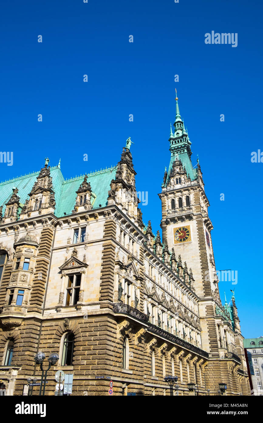 The imposing townhall in Hamburg in Germany - Stock Image