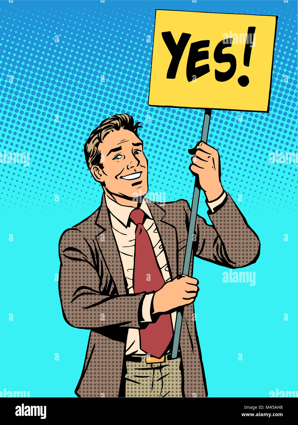 Protester with a poster yes - Stock Image