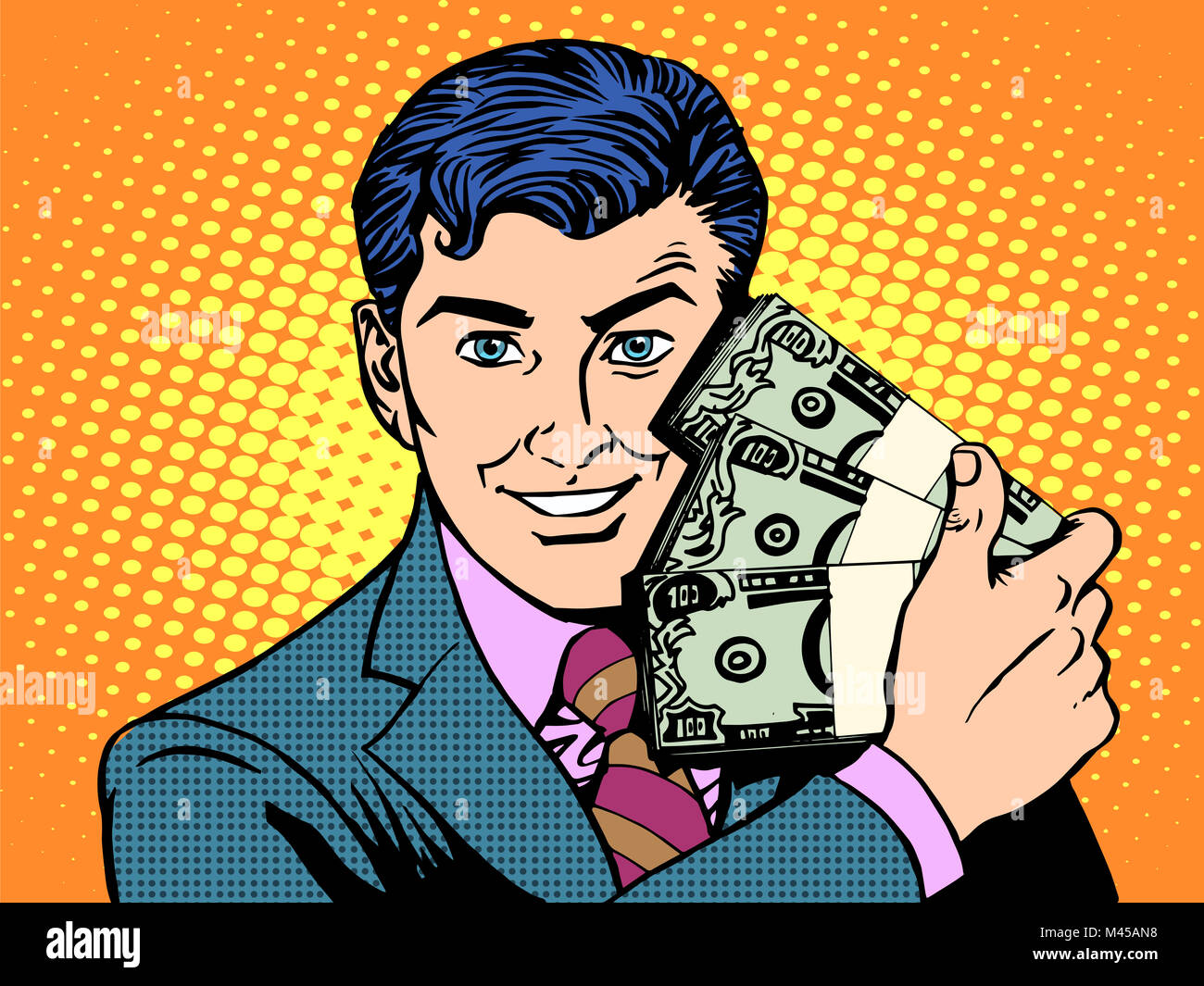 Rich with wads of dollars. business concept - Stock Image