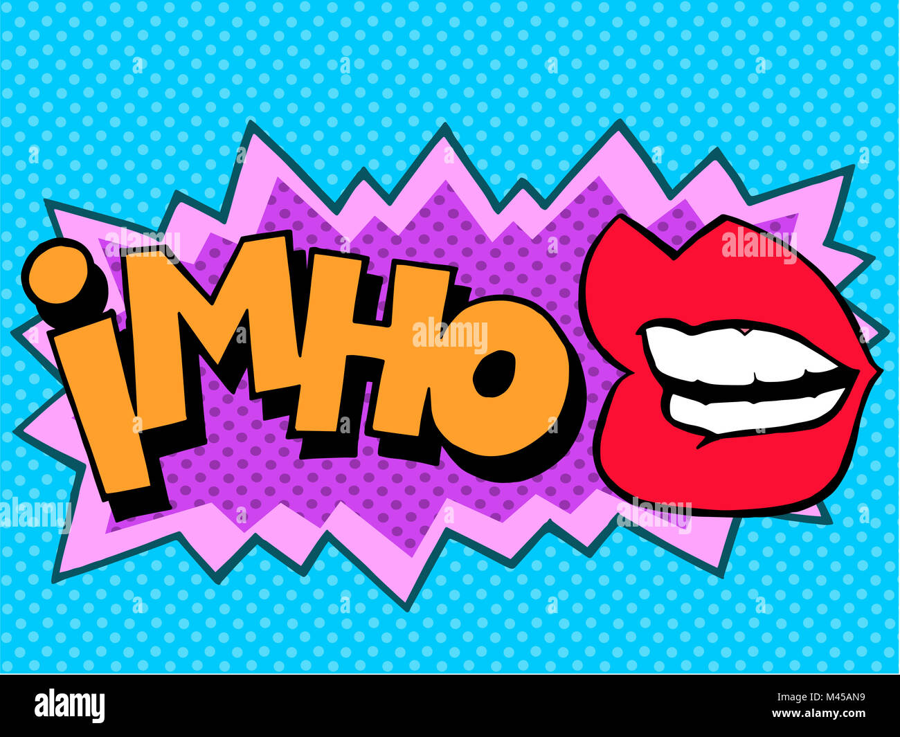 IMHO comic book style lettering - Stock Image