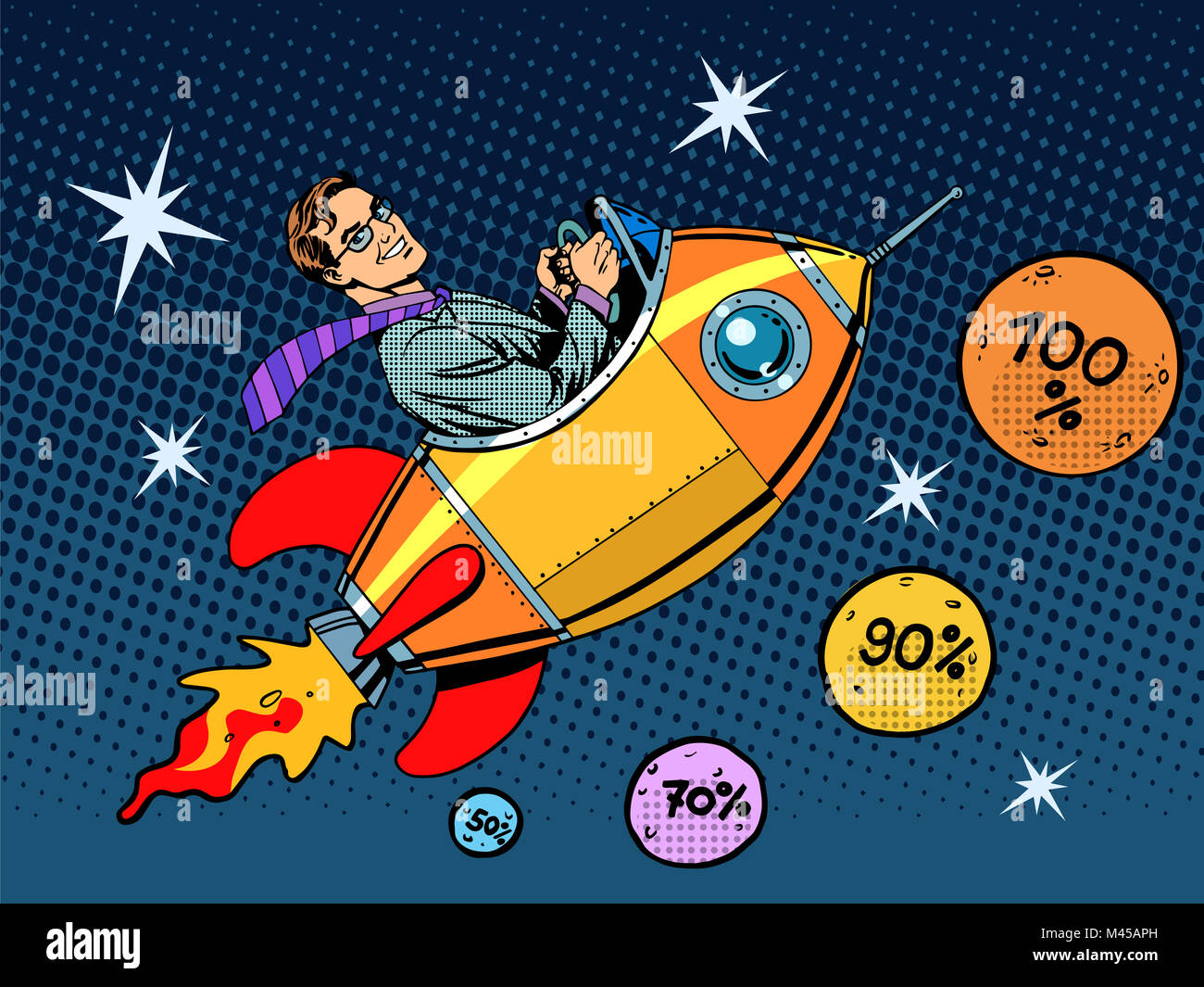 Space closeout business concept growth in sales and interest - Stock Image