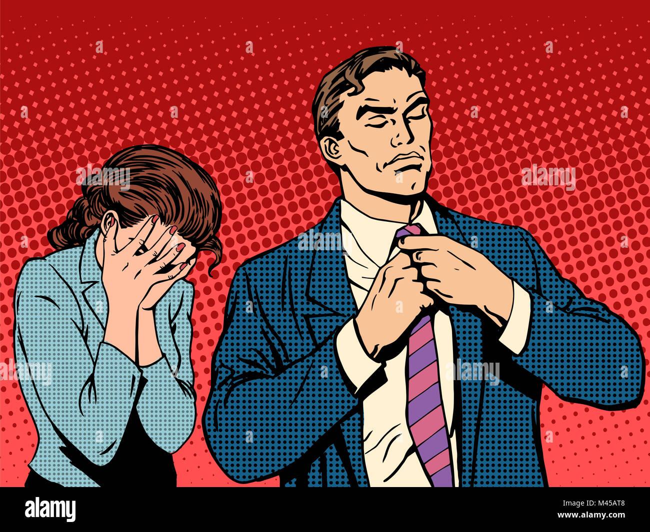 Family quarrel man leaves woman cries - Stock Image