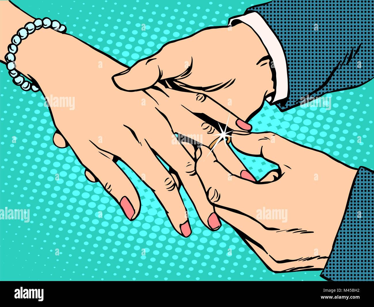 betrothal wedding bride groom gold ring - Stock Image