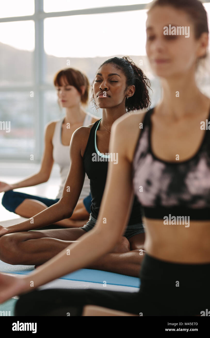Fitness people practicing mindfulness and peaceful yoga meditation workout. Group of women meditating in lotus pose - Stock Image
