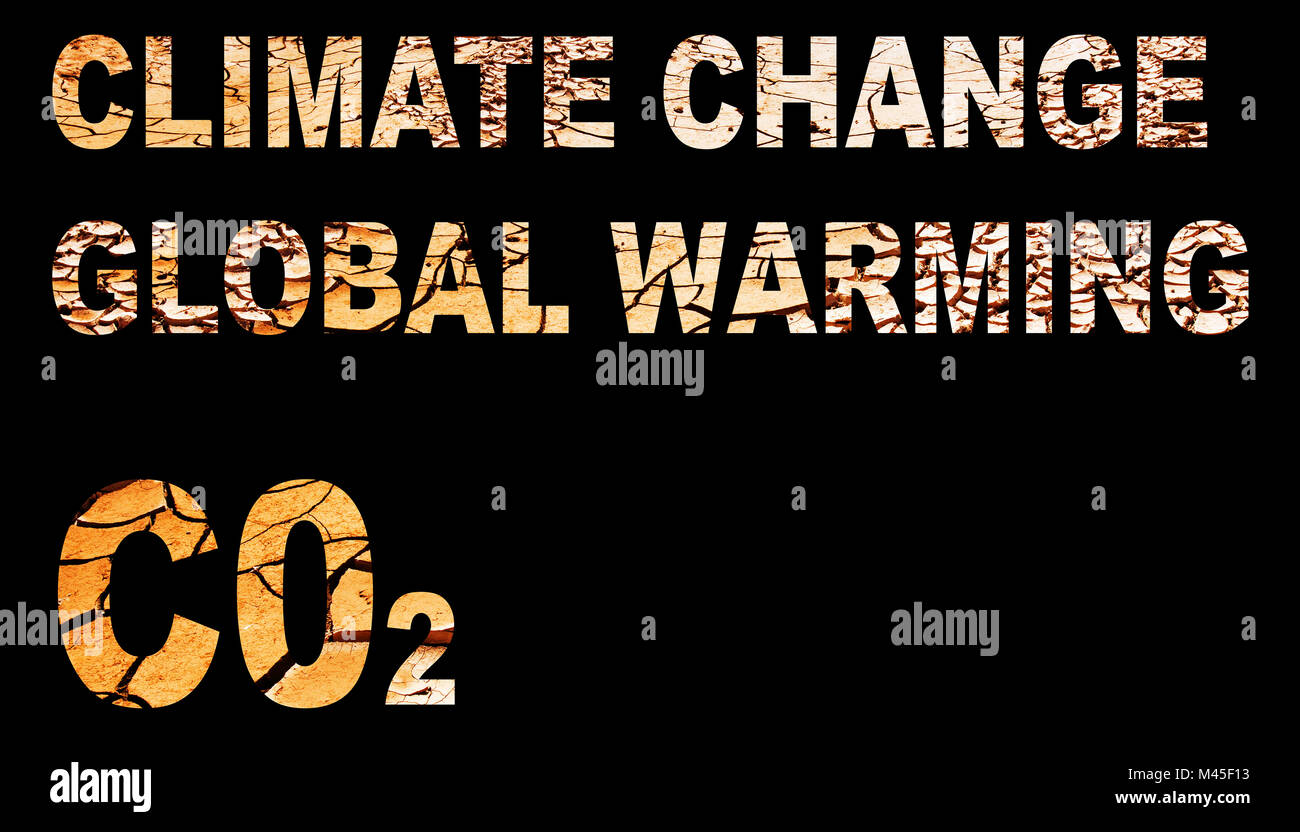Climate change/global warming spelled out with drought mud cracks - Stock Image
