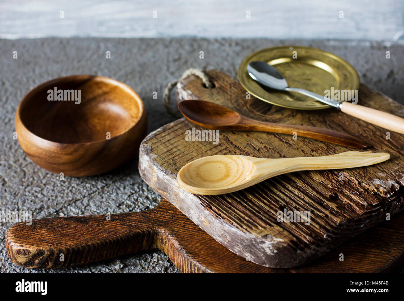 Wooden Cutting Boards On Grey Concrete Background Props For Food Stock Photo Alamy