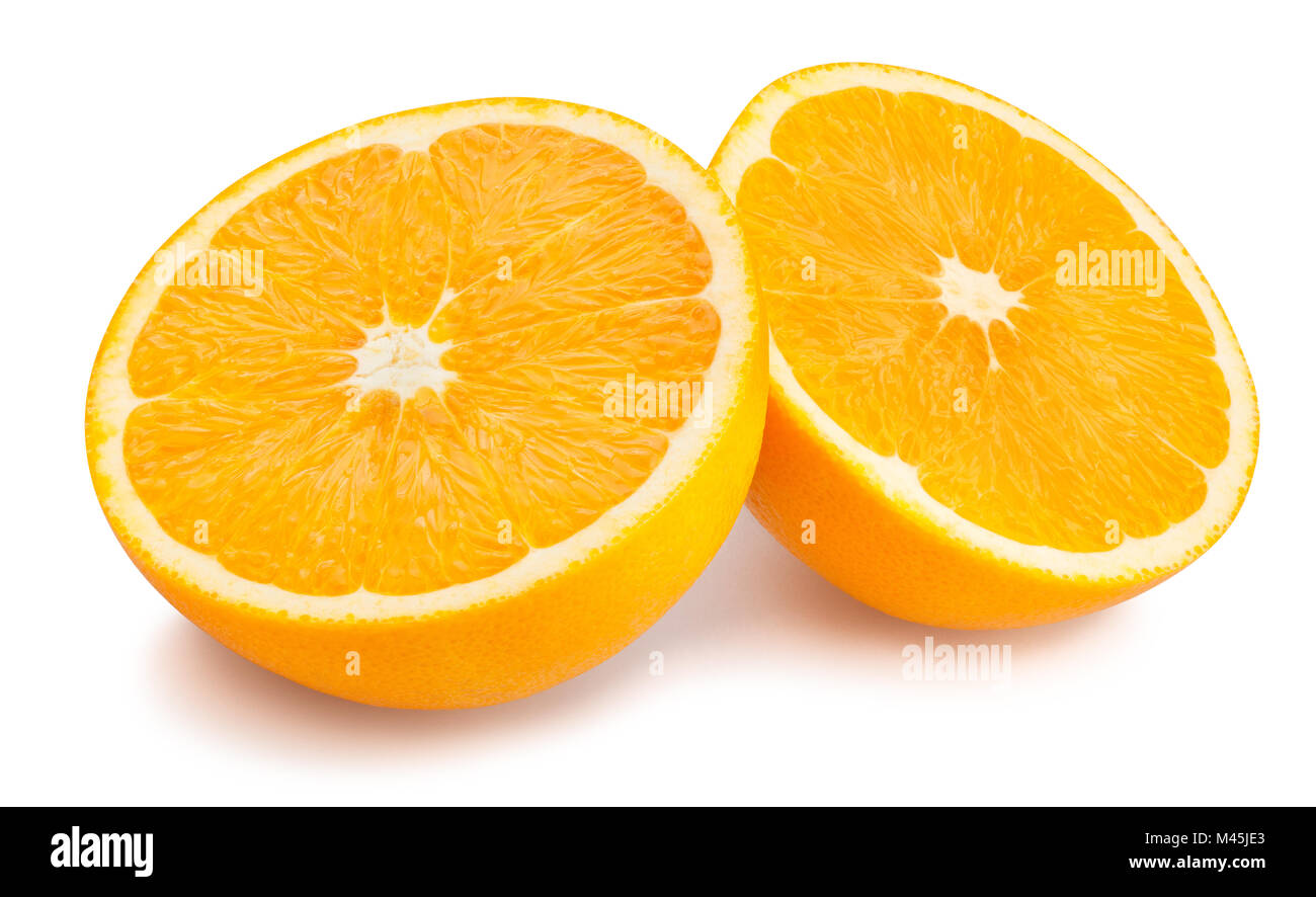 sliced orange fruit path isolated - Stock Image
