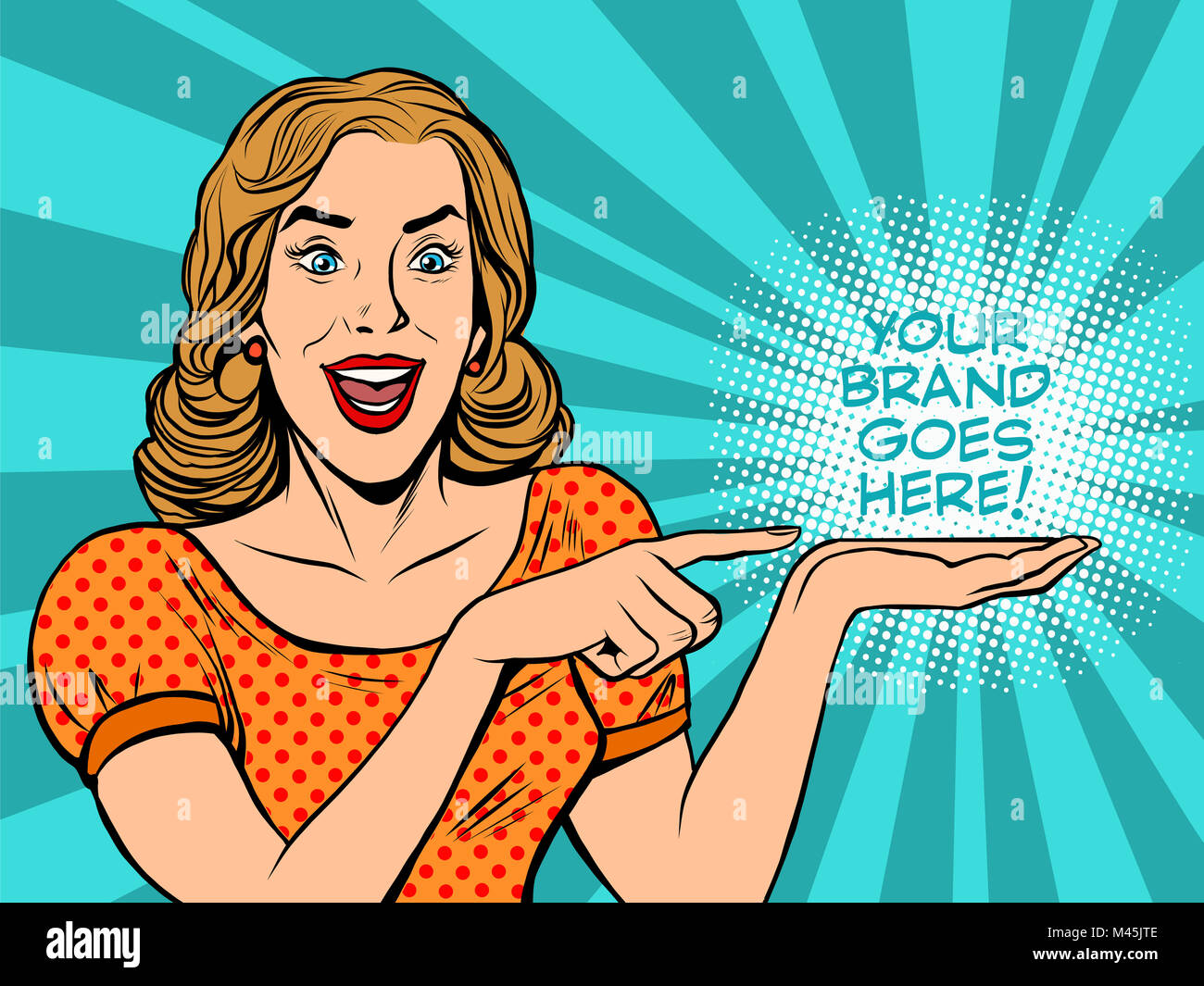 Girl promotional your brand goes here - Stock Image