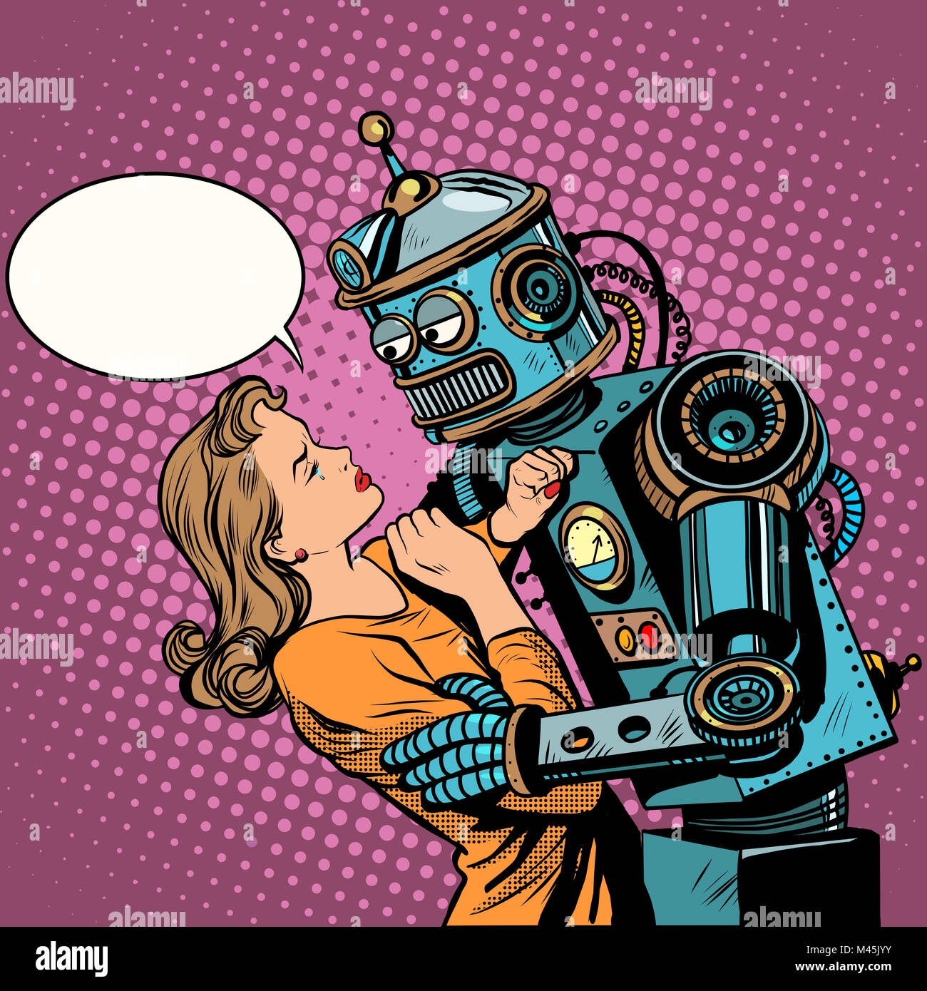 Robot woman love computer technology - Stock Image