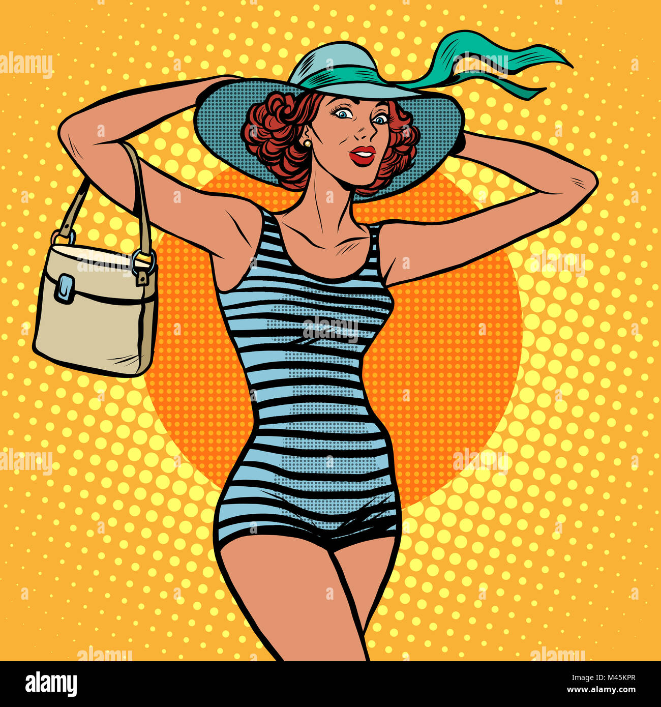 Girl retro bather - Stock Image