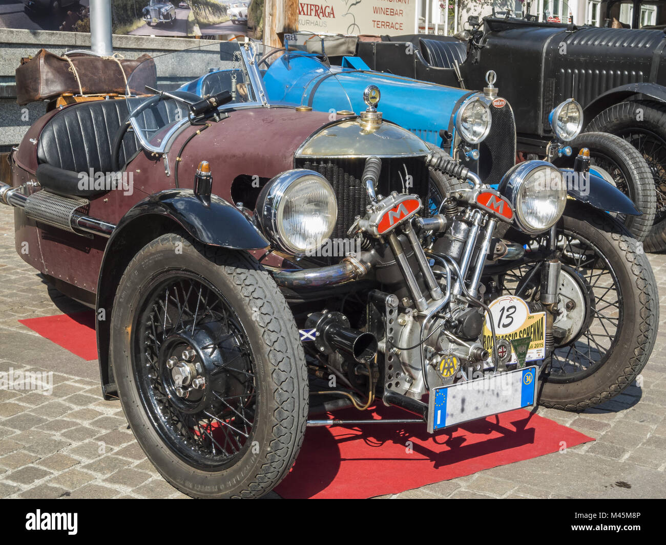 Südtirol Classic Cars_2015_Morgan three wheeler_front totale - Stock Image