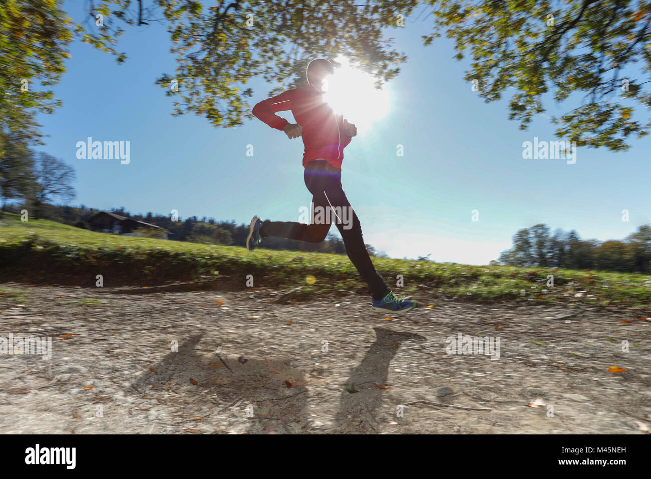 Mature male runner running down sunlit rural dirt track Stock Photo