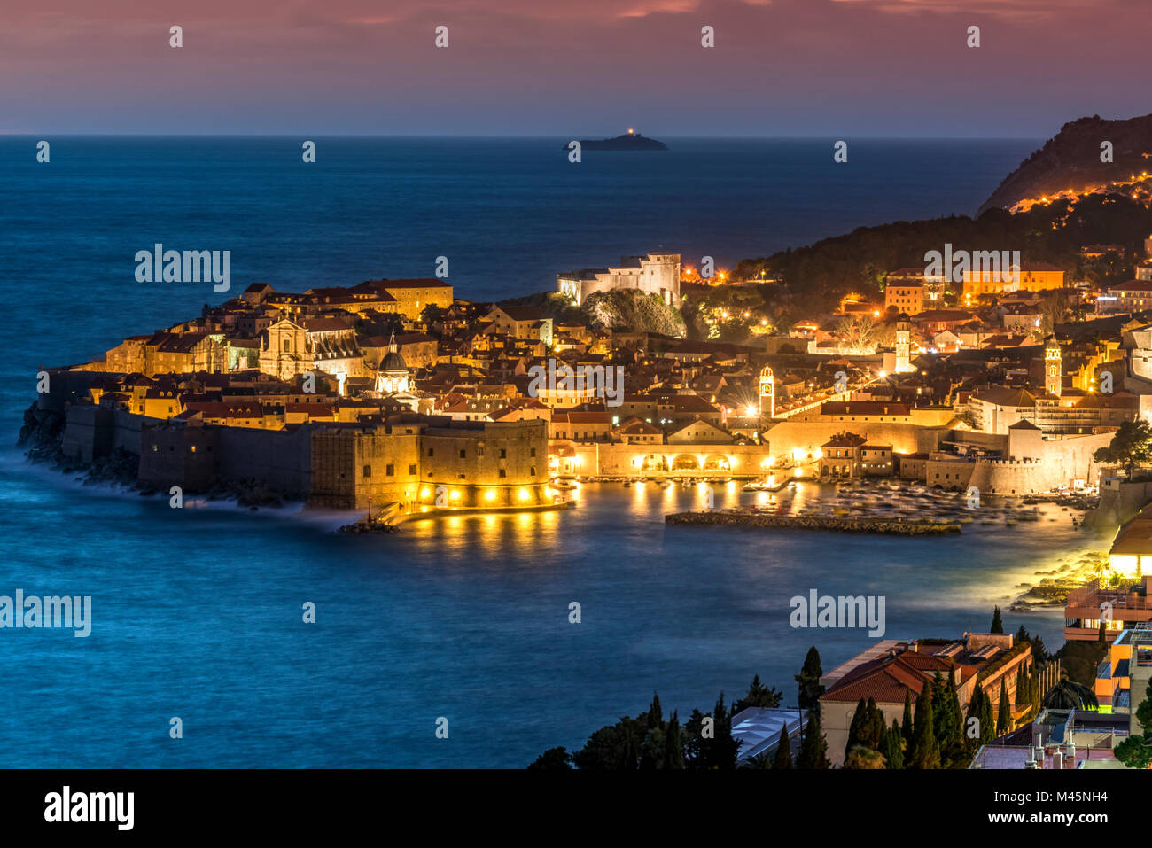 City skyline at dusk, Dubrovnik, Croatia - Stock Image