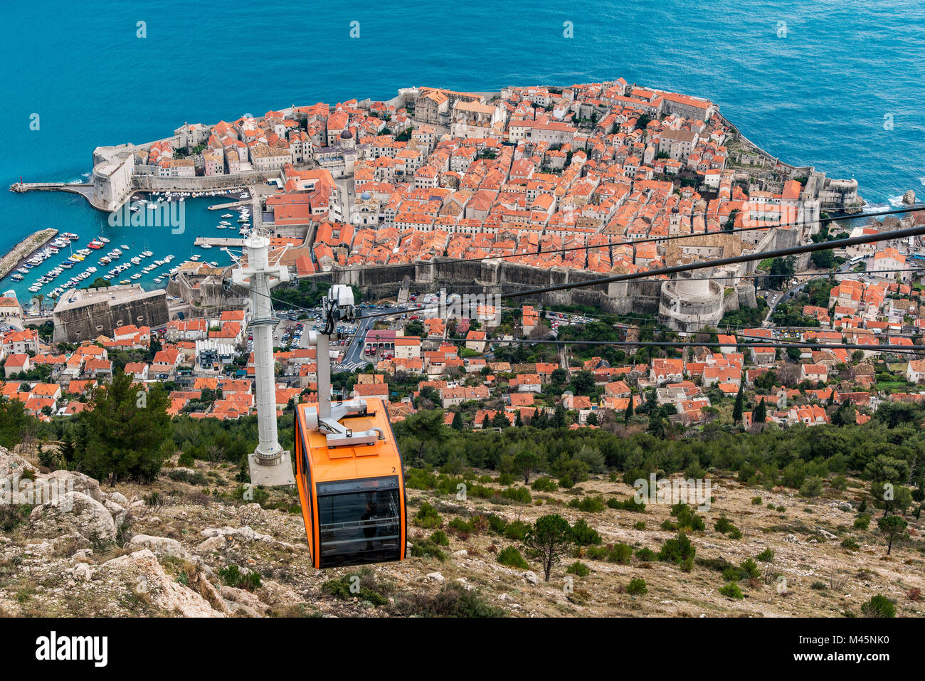 Aerial view of the old town with cable car, Dubrovnik, Croatia - Stock Image
