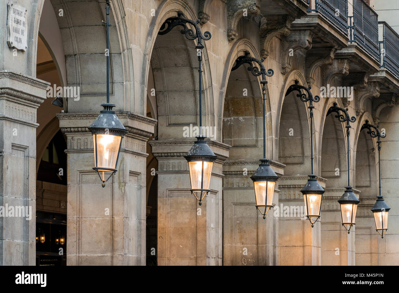 Plaza Real or Placa Reial, Barcelona, Catalonia, Spain - Stock Image