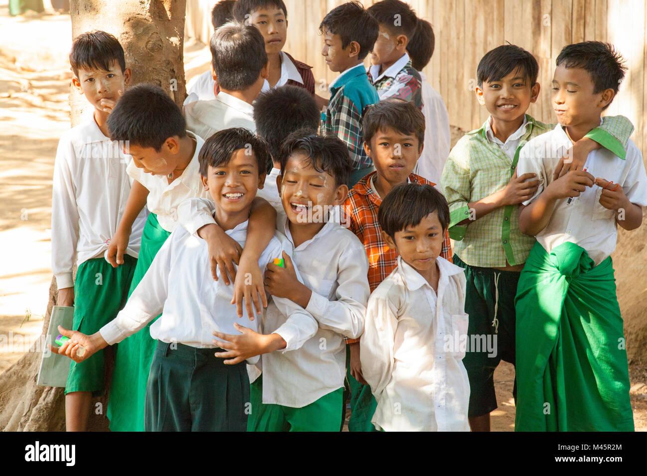 local burmese schoolchildren in Myanmar - Stock Image