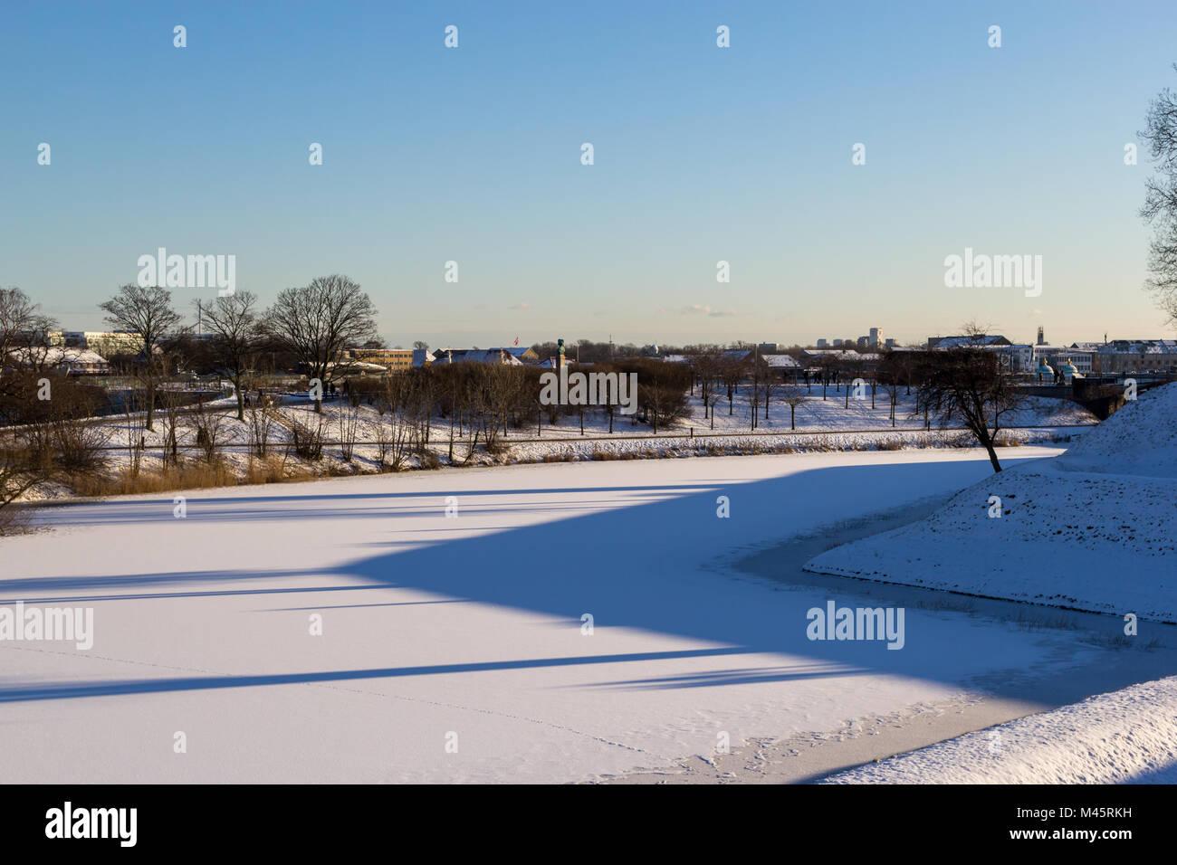 Frozen moat at Kastellet, Copenhagen, Denmark - Stock Image