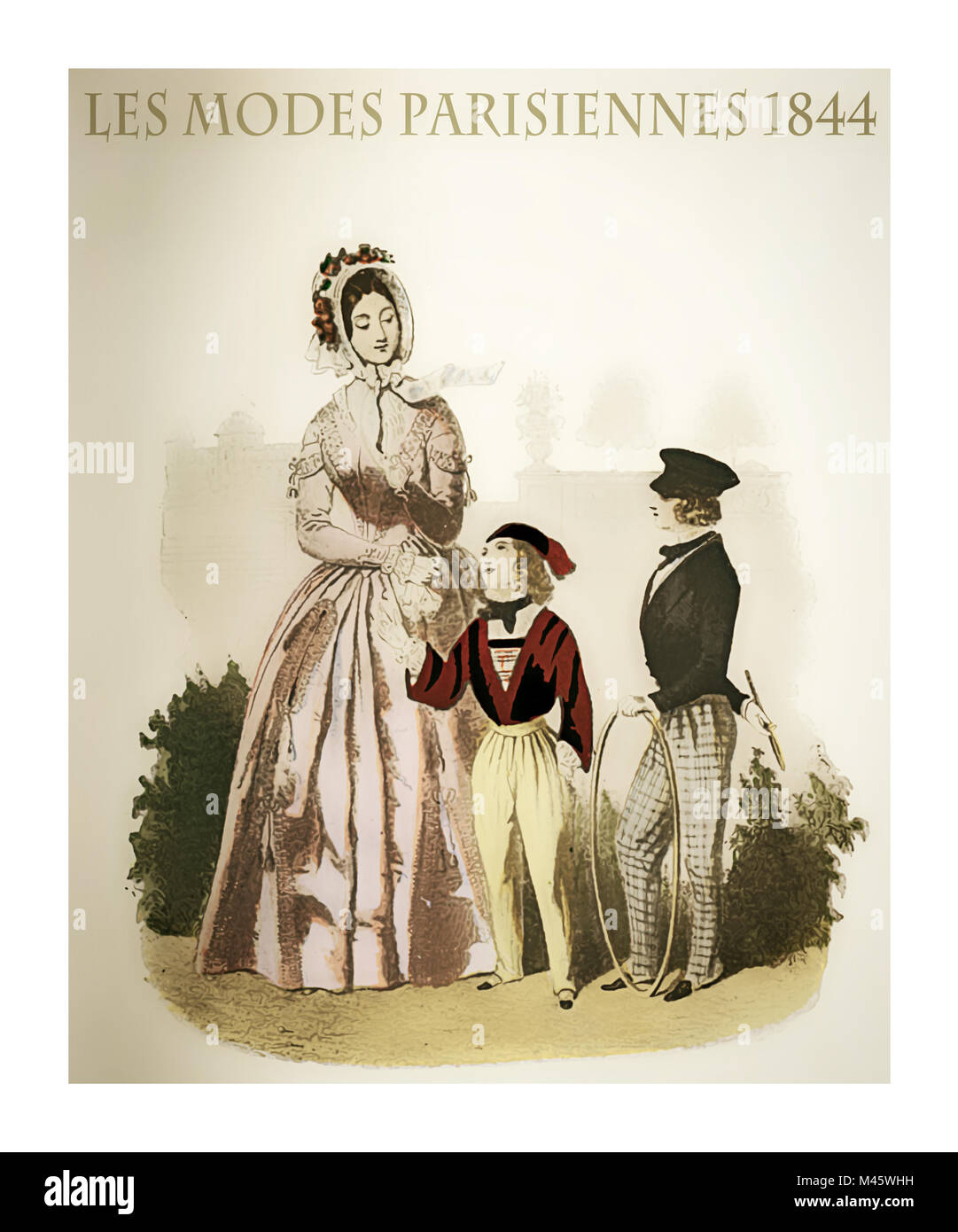 1844 vintage fashion, French magazine Les Modes Parisiennes presents a young lady with two kids  outdoor, with fancy - Stock Image