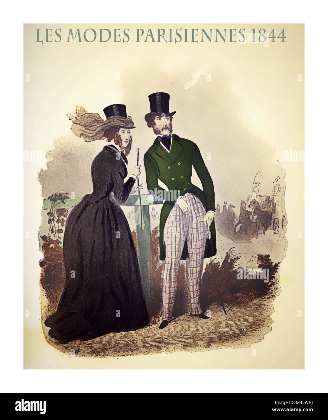 1844 vintage fashion, French magazine Les Modes Parisiennes presents a  lady and a gentleman  outdoor, with fancy - Stock Image