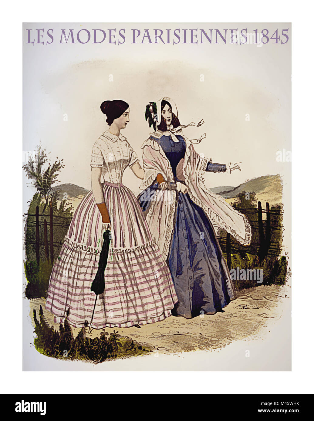 1845 vintage fashion, French magazine Les Modes Parisiennes presents two ladies walking leisurely outdoor with fancy - Stock Image