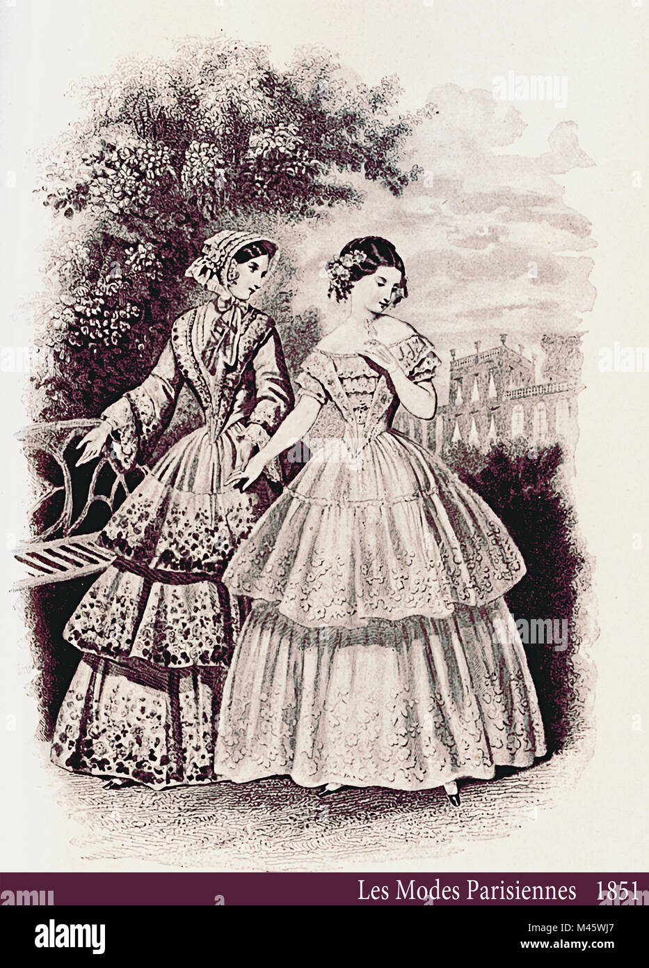 1851 vintage fashion, French magazine Les Modes Parisiennes presents two ladies walking leisurely outdoor in a beautiful - Stock Image