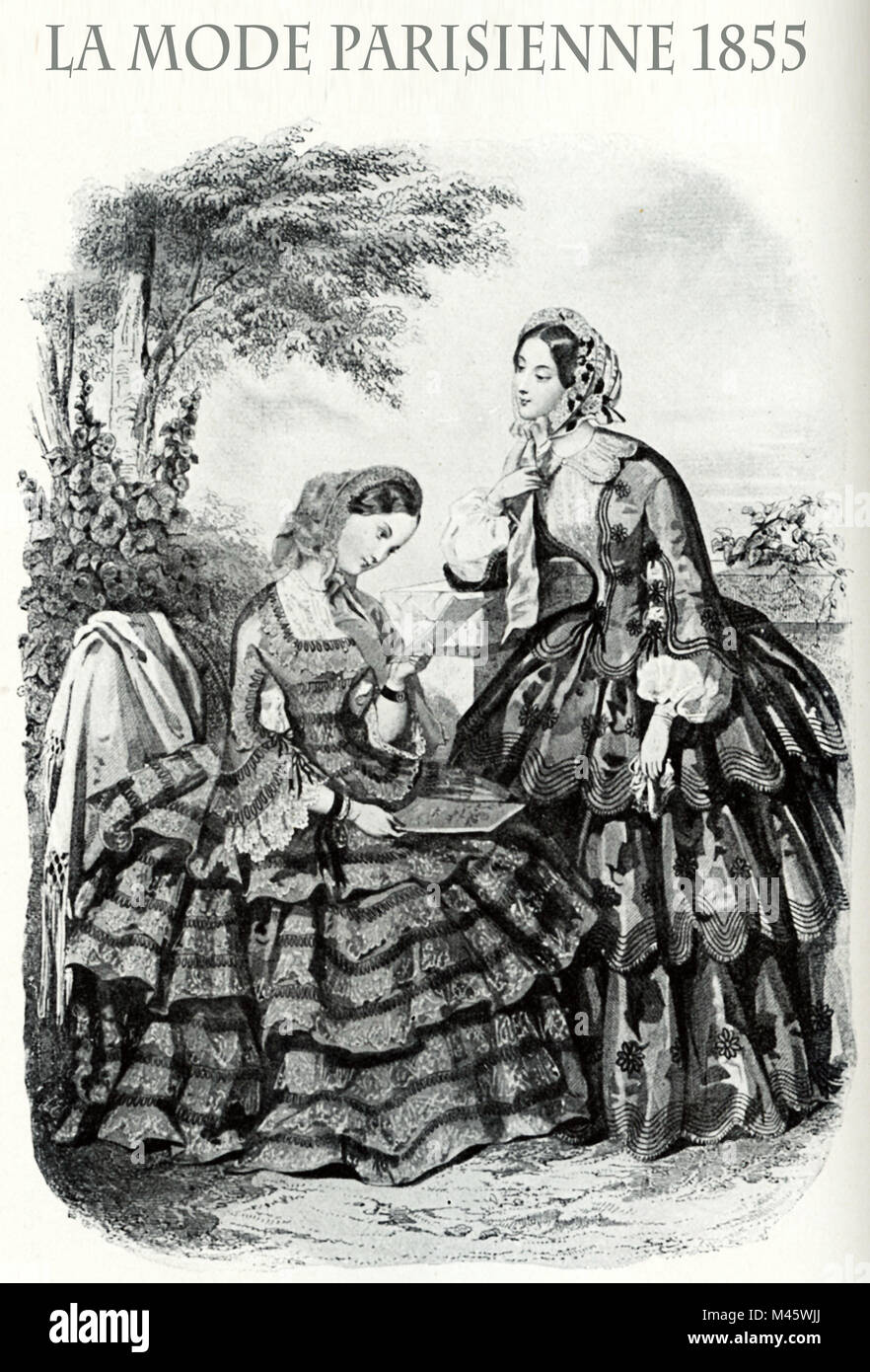 1855 vintage fashion, French magazine La Mode Parisienne presents two ladies  leisurely outdoor with fancy cloths - Stock Image