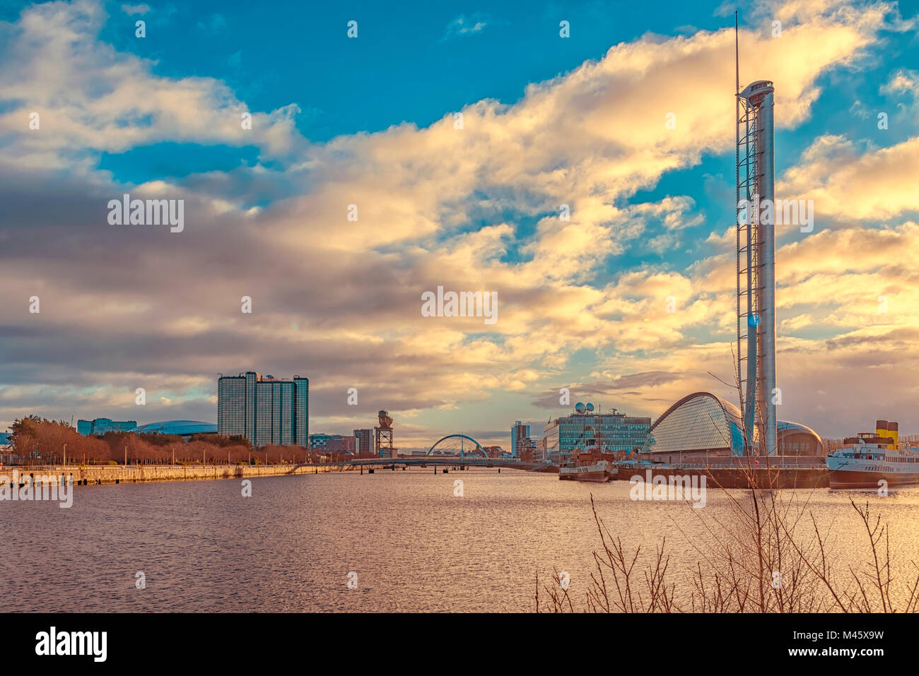 GLASGOW, SCOTLAND - JANUARY 17, 2018: A cityscape view of Glasgow from along the river clyde. Stock Photo