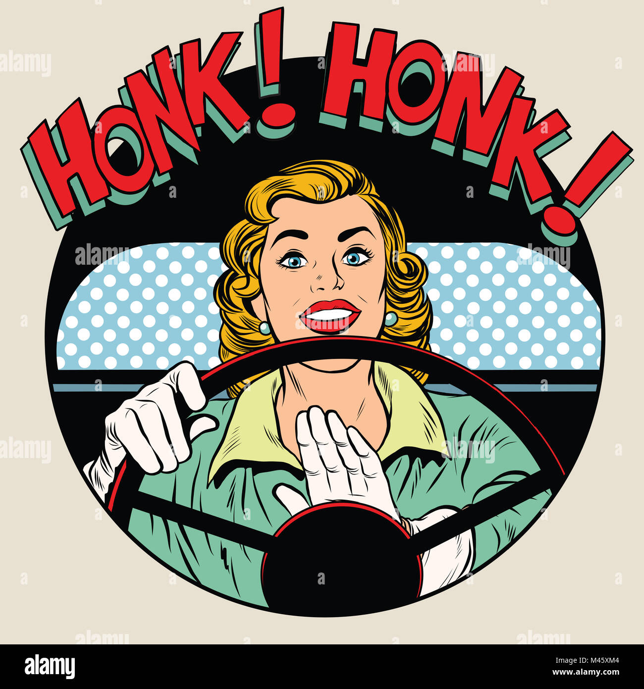 honk vehicle horn driver woman - Stock Image