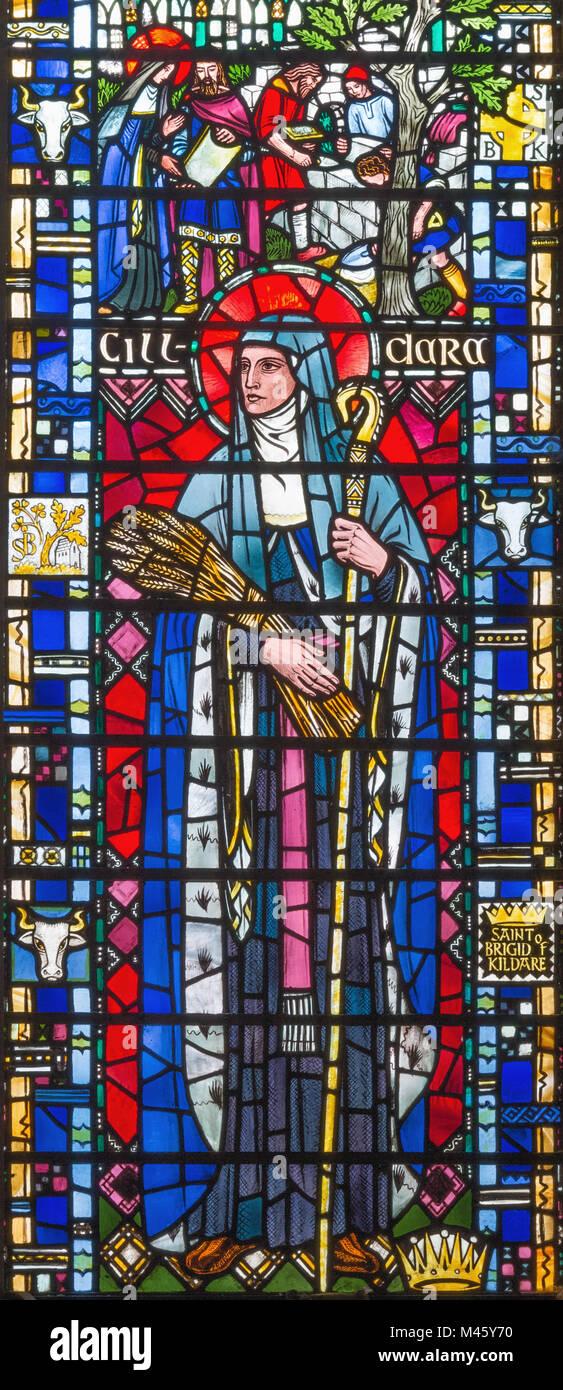 LONDON, GREAT BRITAIN - SEPTEMBER 16, 2017: The St. Brigid of Kildare on the stained glass in church St Etheldreda Stock Photo