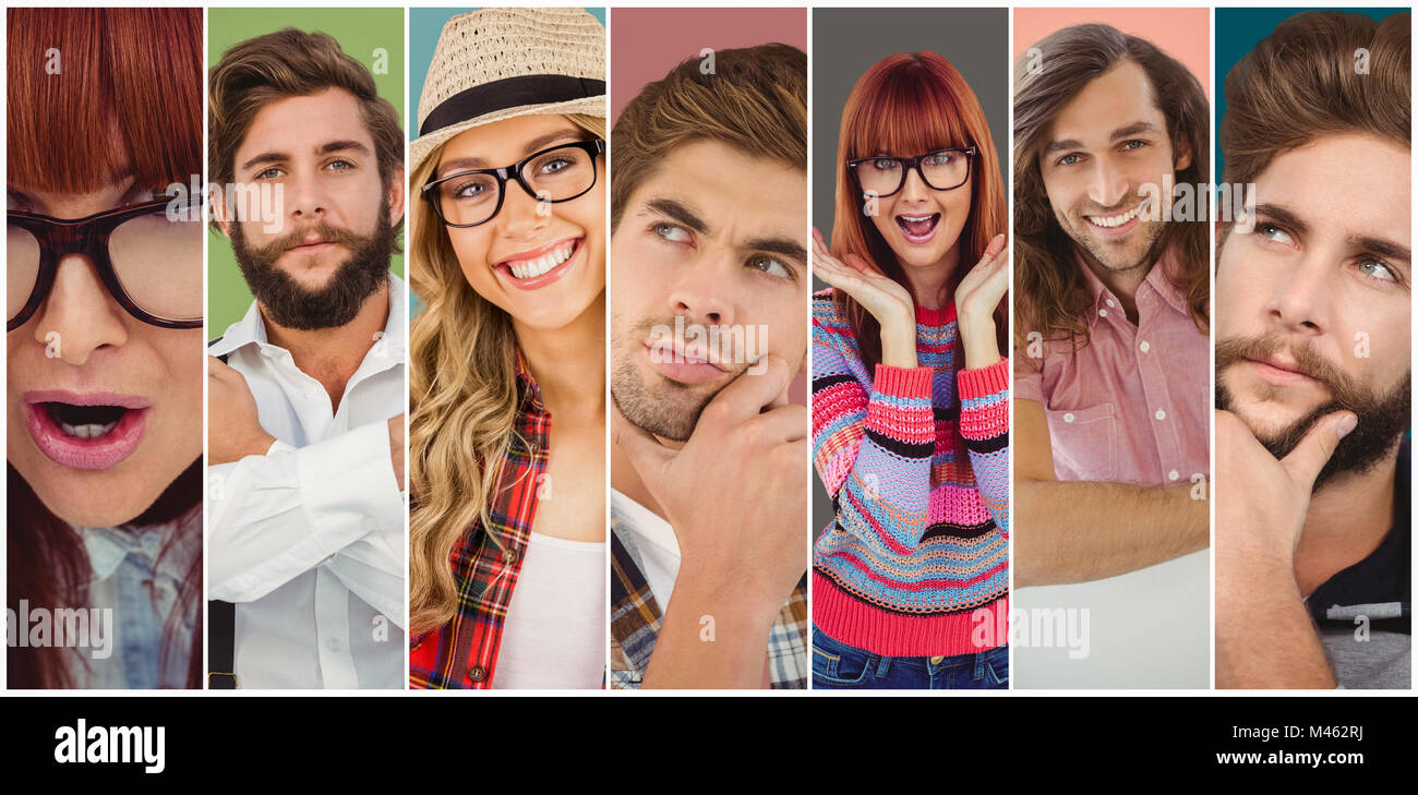 Composite image of smiling hipster woman holding her glasses - Stock Image