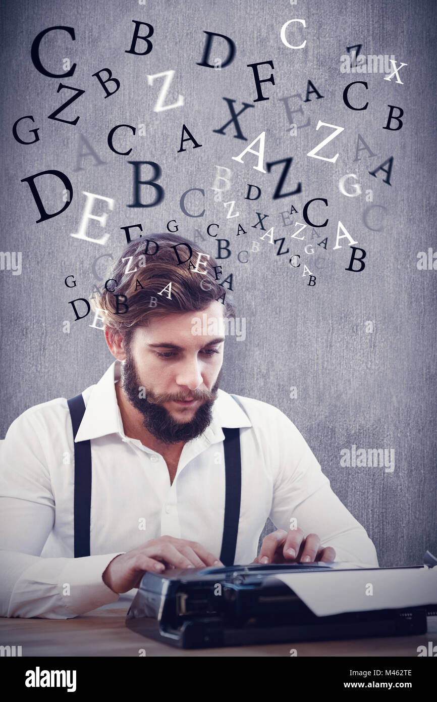 Composite image of hipster working on typewriter - Stock Image