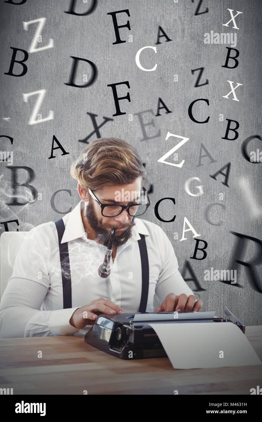 Composite image of hipster smoking pipe while working on typewriter - Stock Image