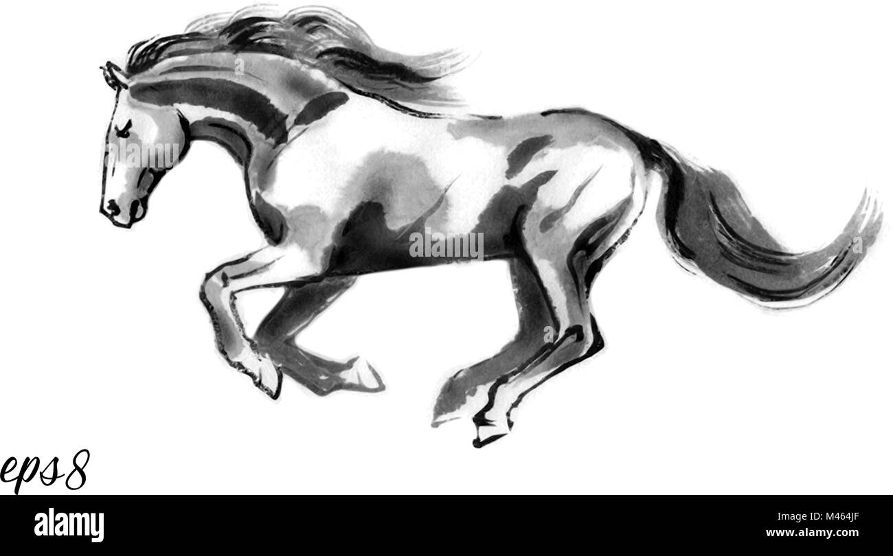 Sumi E Vector Illustration Of A Running Horse Moving To The Left Stock Vector Image Art Alamy