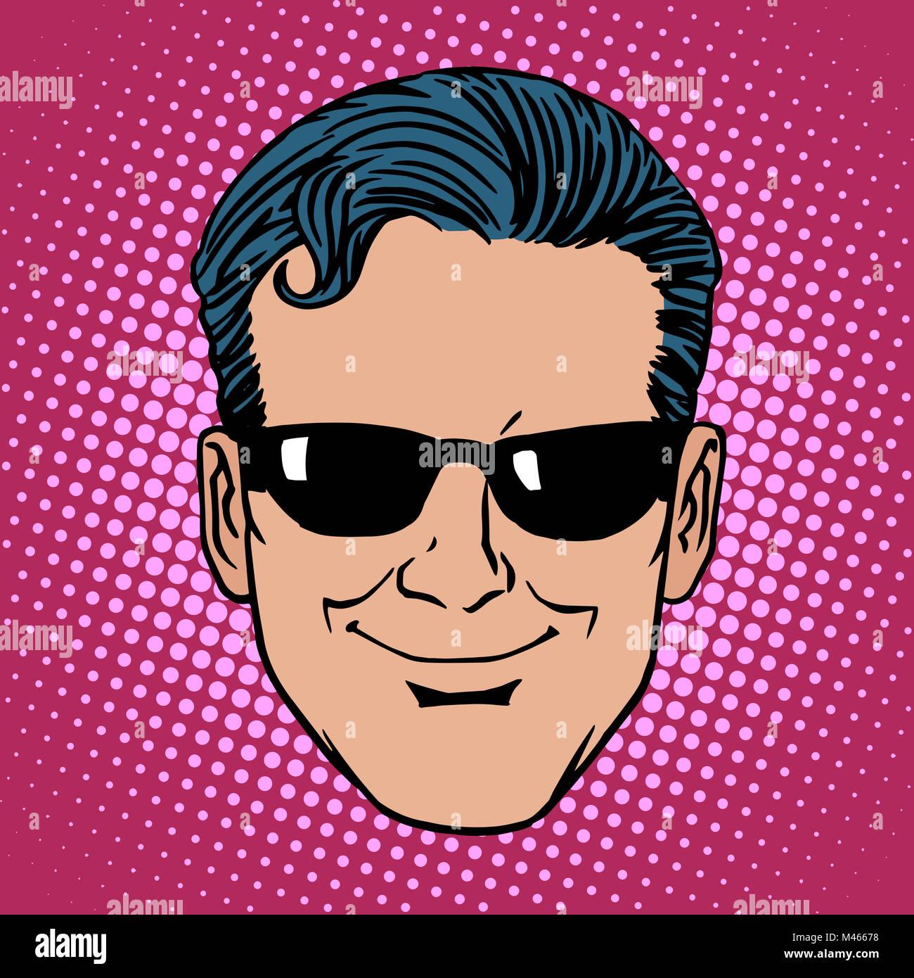 Retro Emoji spy man face - Stock Image
